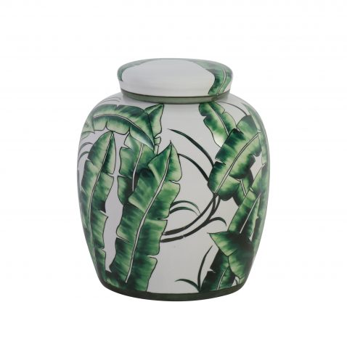 Leaf print ceramic jar with lid
