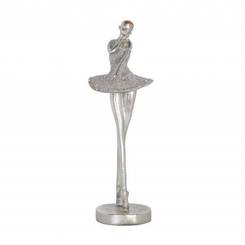 Silver ballerina statue decor with faux diamonds