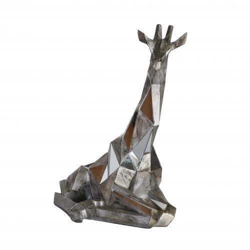 glass silver large statue of sitting giraffe