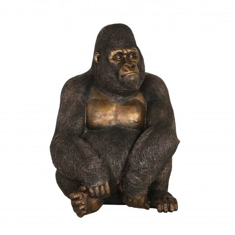 Bronze gorilla statue made from resin