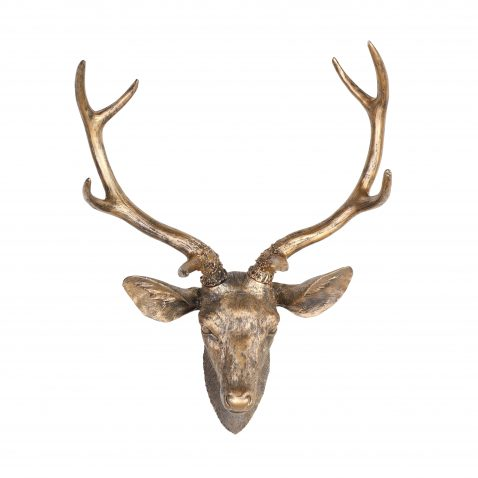antelope deer head with horns wall hanging in gold