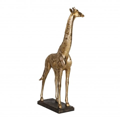 Tall golden giraffe statute decor