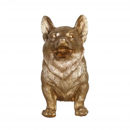 Golden corgi dog statue