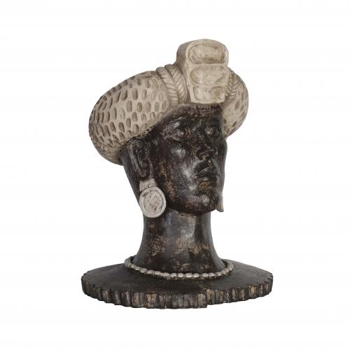 African tribal head statue with cream headgear and dark skin