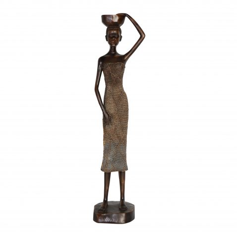 African women carrying bowl on head statue