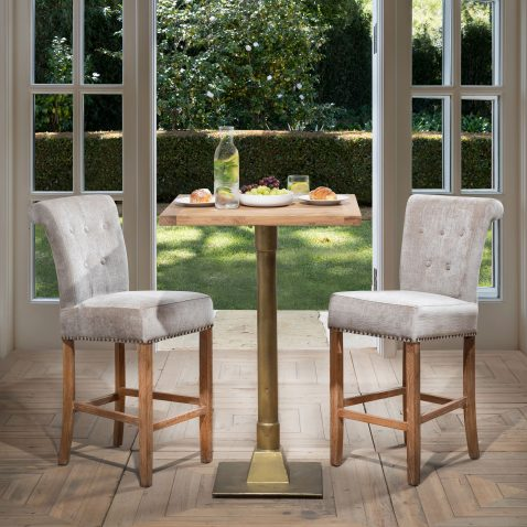 Killian Bar Table with brass stand and wooden top