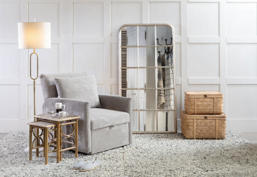 Grey corduroy sleeper armchair