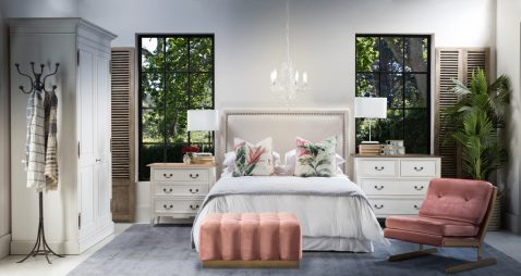 Bethal Headboard in white with rubber wood frame and nail head trim