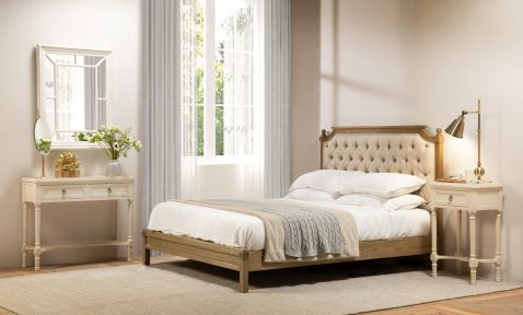 block and chisel bed with button detail and oak frame