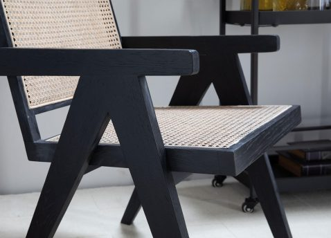 Block & Chisel rattan and wood dining chair black