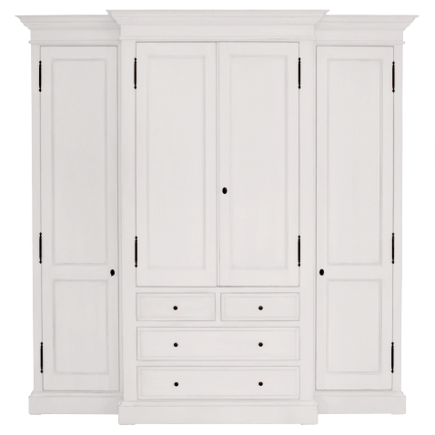 Block & Chisel weathered oak breakfront closet in Antique White