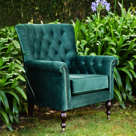 ROSEANNE OCCASIONAL CHAIR in green with tufted details and nail head trim