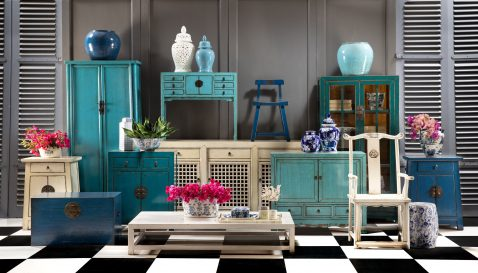 Teal lacquered chinese cabinet with glass doors