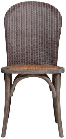 Block & Chisel elm wood dining chair with rattan seat and backrest