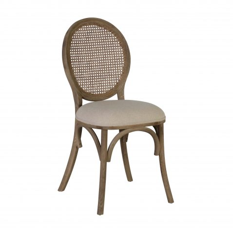 block and chisel dining chair with rattan back and linen seat