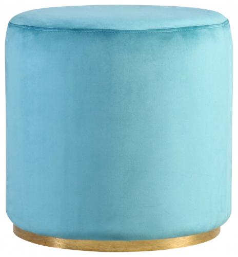 Block & Chisel round aqua velvet upholstered ottoman