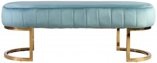 Block & Chisel oval teal velvet upholstered ottoman