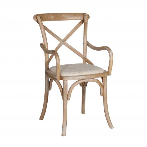 cross back carver in oak with linen seat