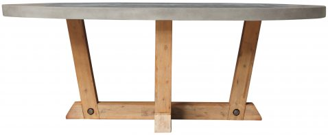 Block & Chisel oval natural concrete dining table with wooden base