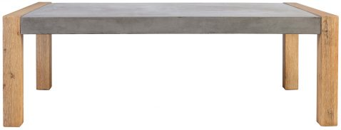 Block & Chisel rectangular concrete coffee table with acacia wood