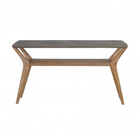 Block & Chisel rectangular natural concrete console table with wooden legs