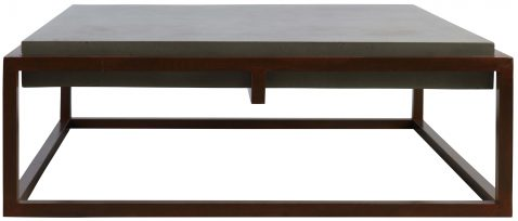 Block & Chisel square concrete coffee table with steel base