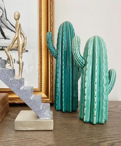 Green glossy cactus ceramic statues