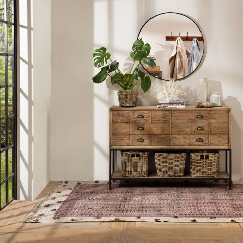 Block & Chisel rectangular reclaimed wood console with iron legs