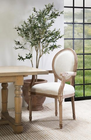 Marli Dining Carver Chair - with charcoal grey upholstery, french inspired wooden frame