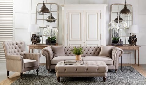 Duchess Chesterfield with tufted in champagne linen ottoman