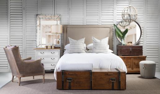 Block & Chisel linen upholstered queen size headboard