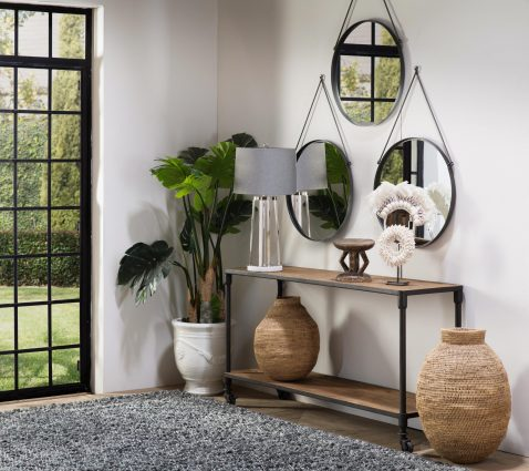 Block & Chisel round hanging mirror in metal
