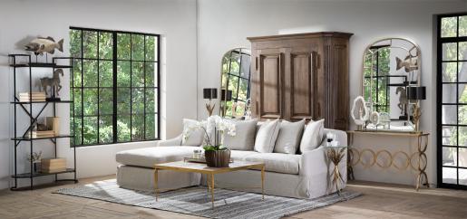 Beige interchangeable L-shape, corner sofa
