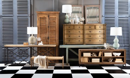 Block & Chisel rectangular oak wood console table with geometric iron base