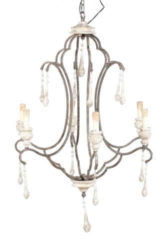 Block & Chisel wood and iron 6-light chandelier