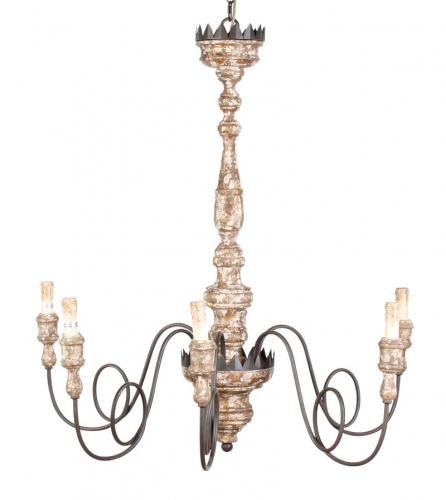 Block & Chisel iron & wood chandelier