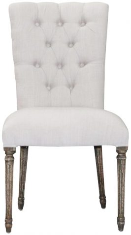 Block & Chisel button tufted cream upholstered dining chair