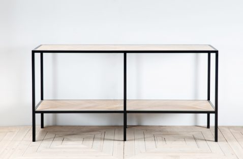 Block & Chisel, made in south africa, proudly south african, contemporary industrial wood and metal console with two shelves