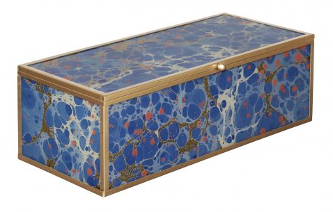 Block & Chisel rectangular glass box with a gold and blue marble finish