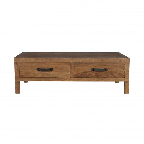 Elm coffee table with 2 drawers