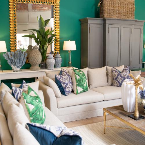 Block & Chisel Yale linen upholstered 3.5 seater sofa