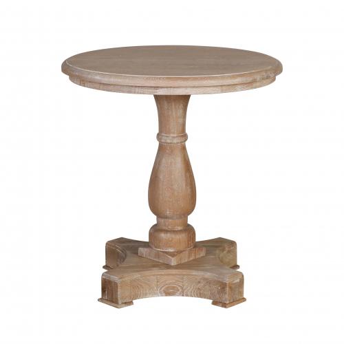 Oak side table with pedestal base
