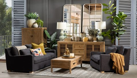 larger 2 seater sofa in charcoal