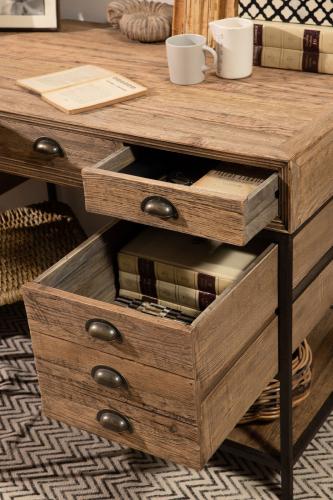 Block & Chisel rectangular reclaimed wood desk with iron legs