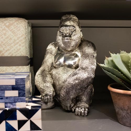 Silverback silver gorilla statuette