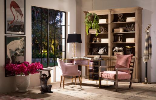 Donatella Carver Dining Armchair Desk Chair in pink mink velvet upholstery