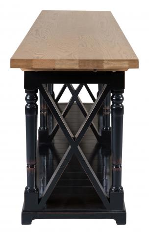 Block & Chisel weathered oak server with black lacquer base
