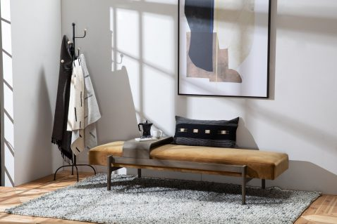 Arabel Day bed in gold camel velvet and a slidable metal table
