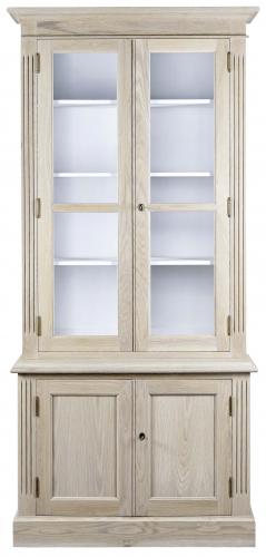 Block & Chisel solid grey wash oak single bookcase