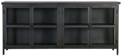 Block & Chisel black metal sideboard with glass doors and metal shelves